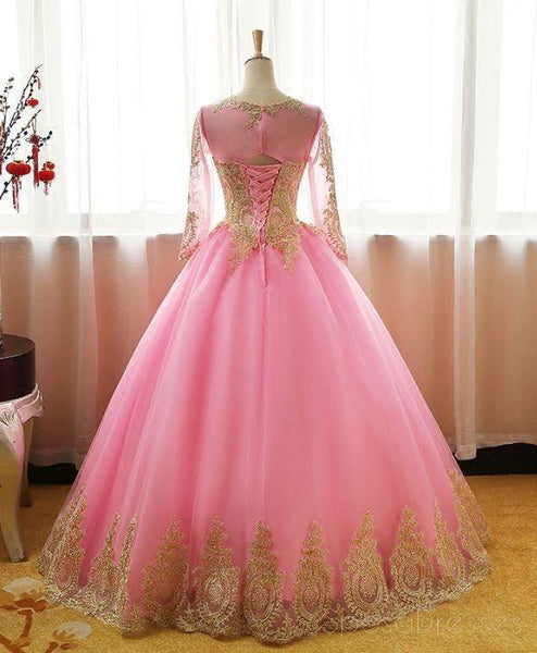 Long Sleeves Gold Lace Pink Skirt A-line Long Evening Prom Dresses, Cheap Sweet 16 Dresses, 18415