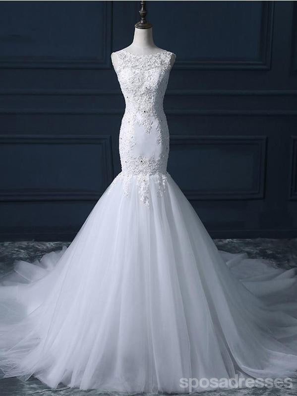 Lace Scoop Neckline Long Tull Tail Mermaid Wedding Bridal Dresses, Cheap Custom Made Wedding Bridal Dresses, WD280