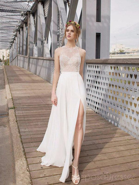 Beautiful White Side Split Prom Dress, Open Back Charming Bridesmaid Dresses, WD0190