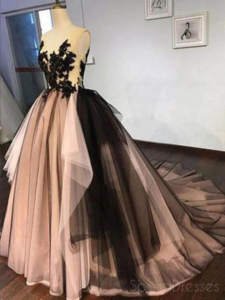 Vintage Backless Black Lace Ball Gown Long Evening Prom Dresses, Cheap Sweet 16 Vestidos, 18421