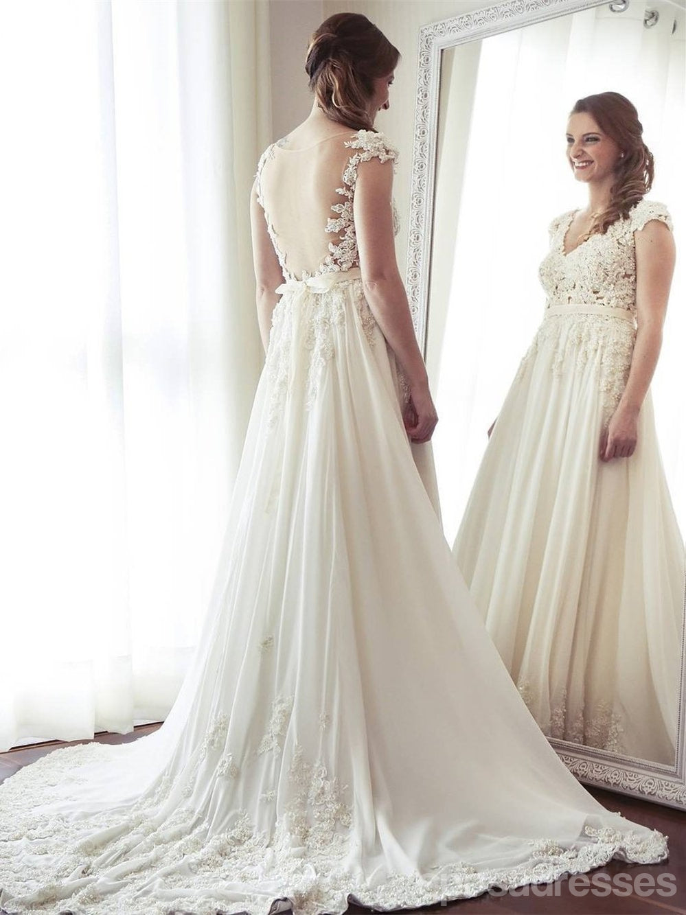 Sexy See Through Cap Sleeve A-line Chiffon Beach Wedding Dresses Online, WD352