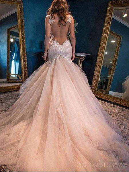 Sexy Backless Lace Mermaid Wedding Dresses, 2017 Tulle Cheap Wedding Gown, 17089