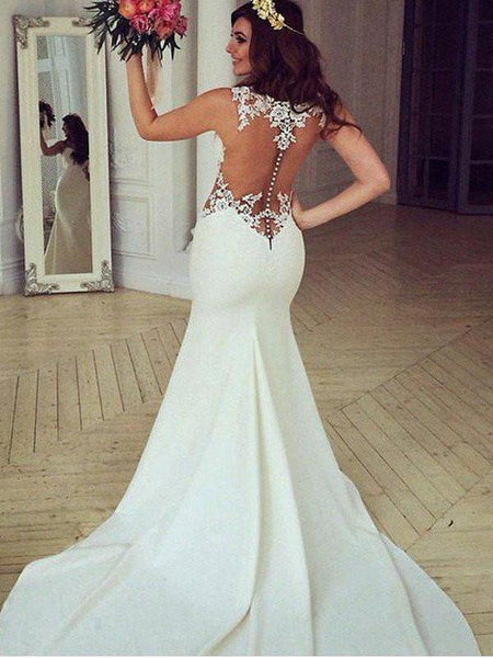 See Through Lace Mermaid Wedding Dresses,  Sexy Long Custom Wedding Gowns,  17099