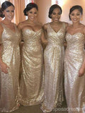 Rose Gold Sparkly Mismatched Sequin Long Bridesmaid Dresses, Cheap Unique Custom Long Bridesmaid Dresses, Affordable Bridesmaid Gowns, BD104