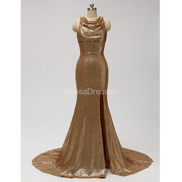 Gold Sequin See Through Halter Mermaid Long Cheap Bridesmaid Dresses Online, WG598