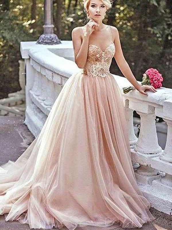 Champagne Gold Sequin A line Evening Prom Dresses, Long Tulle Party ...