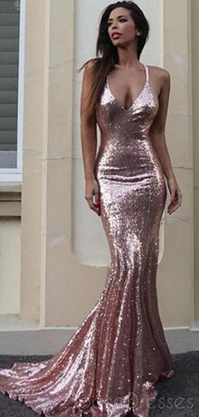 c1a58aa61b0 Sexy Backless Rose Gold Sequin Mermaid Evening Prom Dresses