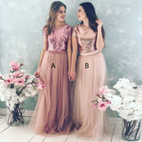 Sequin Bodice Tulle Skirt Cheap Long Bridesmaid Dresses With Sleeves, WG218