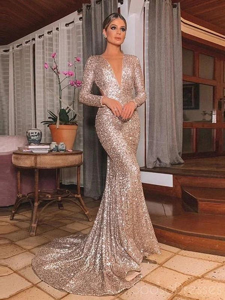 Mermaid V Neck Long Sleeves Long Prom Dresses, Sweet 16 Prom Dresses, 12519