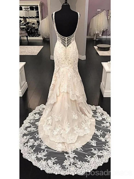 Sexy Backless V Neck Lace Mermaid Wedding Dresses Online, Cheap Bridal Dresses, WD636