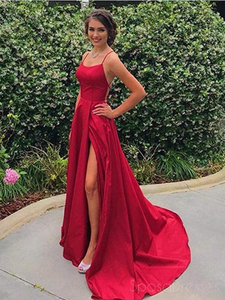 111ae610b9a Red Sexy Side Slit Spaghetti Straps Cheap Long Evening Prom Dresses ...