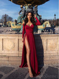 A-line Red High Side Slit Long Sleeves Prom Dresses, Sweet 16 Prom Dresses, 12391