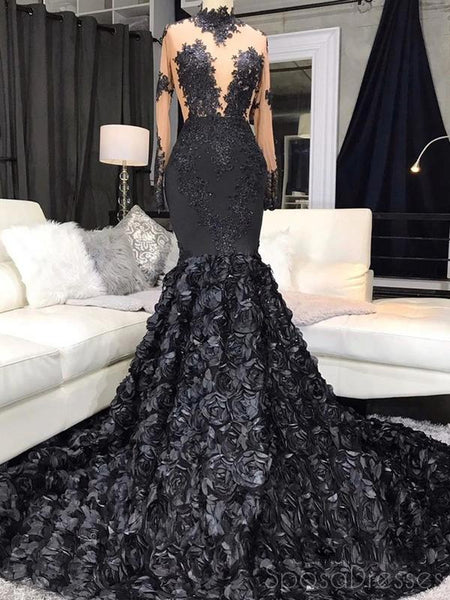 Black Mermaid Hand Made Flower Long Prom Dresses, Sweet 16 Prom Dresses, 12487