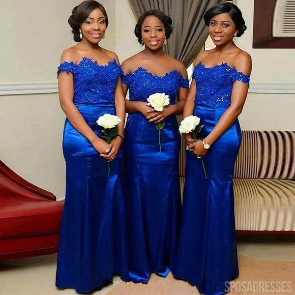 Lace Sheath Off The Shoulder Cheap Long Bridesmaid Dresses Online, WG842