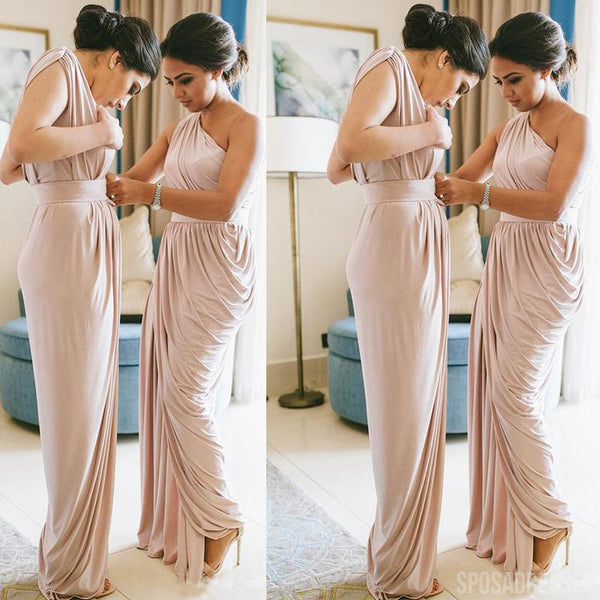 Simple Sheath Ruffle One Shoulder Cheap Bridesmaid Dresses Online, WG834