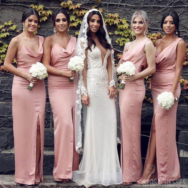 Sheath Side Slit Spaghetti Straps Sleeveelsss Long Bridesmaid Dresses Online, WG826