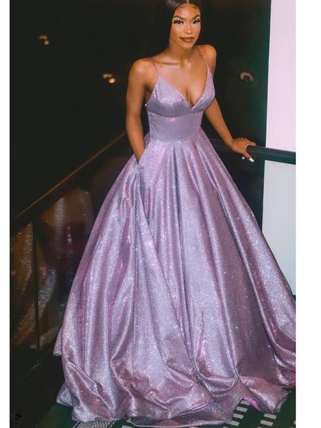 Spaghetti Straps Shiny Purple A-line Cheap Long Evening Prom Dresses, Evening Party Prom Dresses, 12147