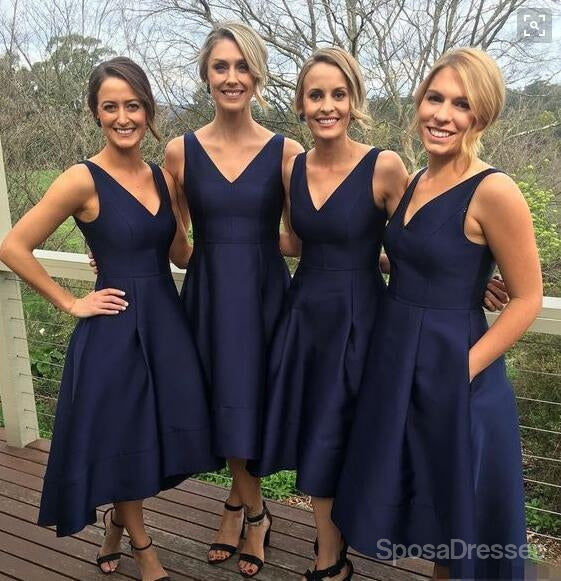 Short V Neckline Navy A line Cute Cheap Bridesmaid Dresses, WG171