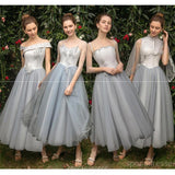 Lace Beaded Grey Short Mismatched Cheap Bridesmaid Dresses Online, WG544