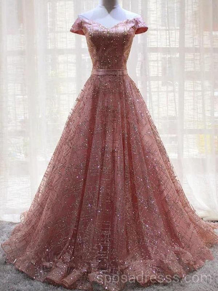 08651b9aa Off Shoulder Sparkly Pink A-line Long Evening Prom Dresses