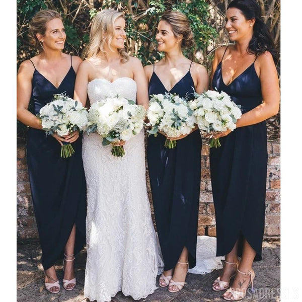 Navy Blue Cheap Short Simple Bridesmaid Dresses Online, Cheap Dresses, WG724