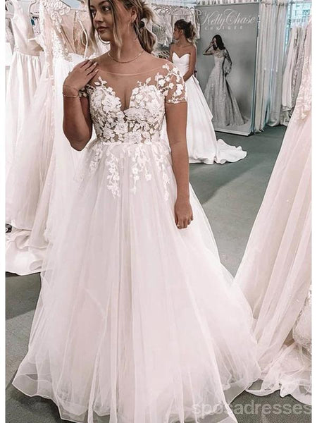 Short Sleeves Lace Applique Cheap Wedding Dresses Online, Cheap Bridal Dresses, WD615