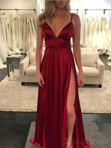 Spaghetti Straps Side Slit Simple Cheap Long Evening Prom Dresses, Cheap Sweet 16 Dresses, 18385