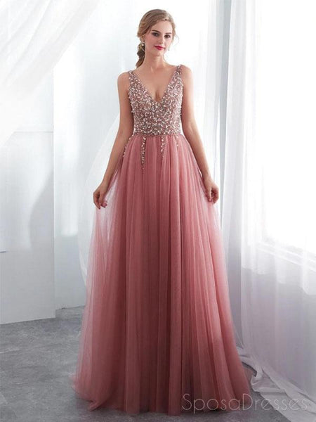 957a142b181 Dusty Pink V Neck Side Slit Beaded Long Evening Prom Dresses