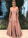 Dusty Pink V Neck  Cheap Long Prom Dresses, Evening Prom Dresses, 12375