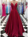 Simple Dark Red A-line Long Evening Prom Dresses, Cheap Custom Party Prom Dresses, 18589
