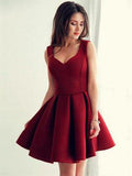 Burgudy V-neck Simple Cheap Short Homecoming Dresses Online, CM631