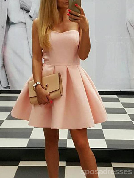 Simple Pale Pink Sweetheart Satin Short Homecoming Dresses Online, CM635
