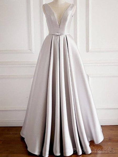 Sexy V Neck Grey Long Evening Prom Dresses, Cheap Custom Party Prom Dresses, 18607