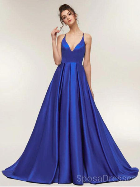 Spaghetti Straps Royal Blue Cheap Long Evening Prom Dresses, Cheap Custom Sweet 16 Dresses, 18510