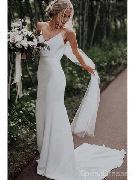 Spaghetti Straps Simple Cheap Wedding Dresses Online, Cheap Unique Bridal Dresses, WD601