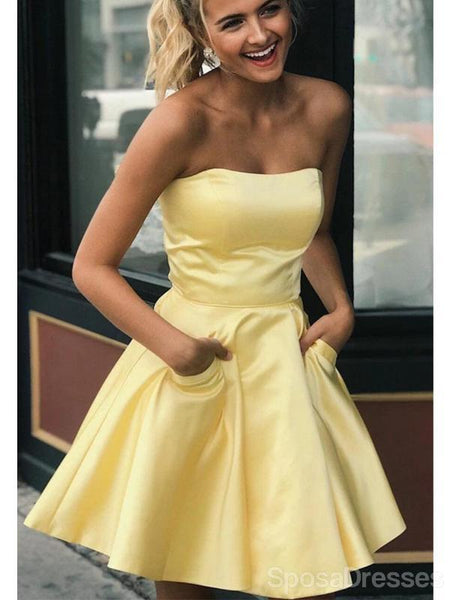 Strapless Yellow Satin Cheap Short Homecoming Dresses Online, Cheap Short Prom Dresses, CM837