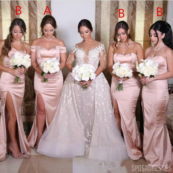 Mismatched Simple Pink Slit Long Bridesmaid Dresses Online, WG792