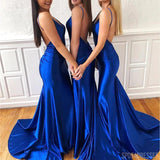 Sexy Mermaid V Neck Backless Royal Blue Long Bridesmaid Dresses Online, WG879