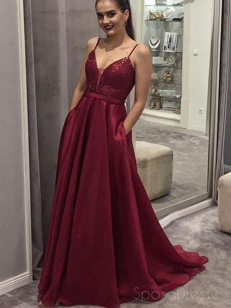9d473d734c6 Spaghetti Straps Dark Red Sequin Long Evening Prom Dresses