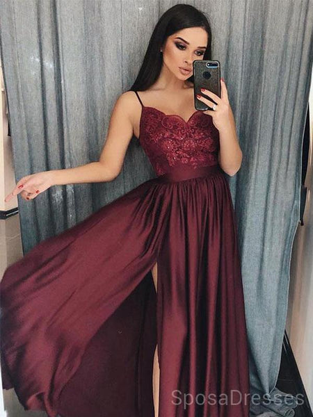 4c813a666fe Maroon Spaghetti Straps Side Slit Long Evening Prom Dresses