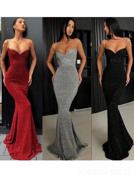 Sexy Mermaid Lace Sequin Long Evening Prom Dresses, Cheap Custom Party Prom Dresses, 18576
