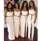 Side Slit Spaghetti Straps Short Simple Bridesmaid Dresses Online, Cheap Bridesmaids Dresses, WG719