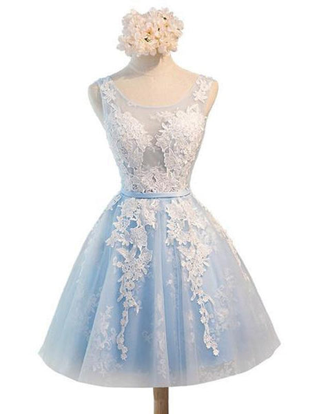 See Through Light Blue Skirt Ivory Lace Homecoming Prom Dresses, Cheap Homecoming Dresses, CM278