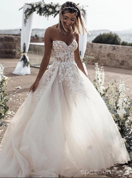Sweetheart A-line Lace Wedding Dresses Online, Cheap Bridal Dresses, WD635