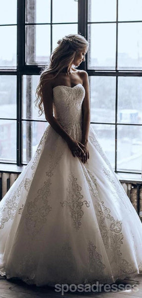 Sweetheart Lace A-line Cheap Wedding Dresses Online, Cheap Bridal Dresses, WD638