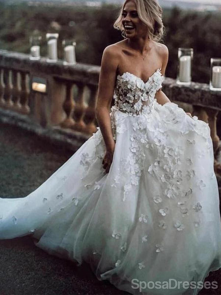 Spaghetti Straps Low Back See Through Lace A-line Wedding Dresses Online, Cheap Unique Bridal Dresses, WD593