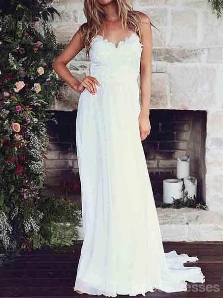 Low Back Spaghetti Straps Lace Bodice Beach Wedding Bridal Dresses, WD285