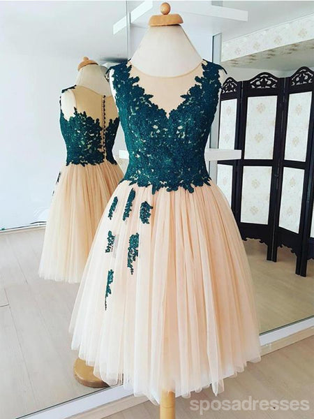 Teal Lace Applique Champagne Tulle Cheap Homecoming Dresses Online, CM587