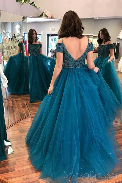 Sexy Off Shoulder Backless Teal A line Long Evening Prom Dresses, Popular Cheap Long 2018 Party Prom Dresses, 17311