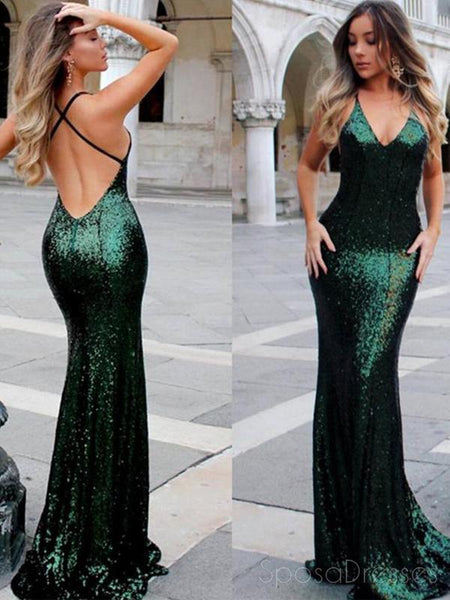 477d3f0b9efc6 Sexy Backless Mermaid Sparkly Green Sequin Long Evening Prom Dresses, –  SposaDresses